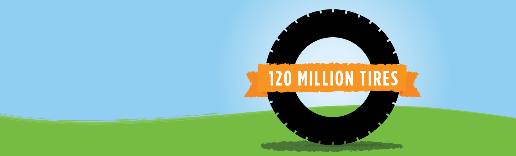 TIME TO CELEBRATE!<BR>WITH YOUR HELP, WE'VE RECYCLED 100 MILLION TIRES